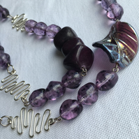Purple and Aubergine Long Chunky Statement Leaf Necklace with Matching Earrings