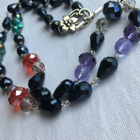 Long Navy Teardrop and Multi Coloured Faceted Bead Necklace