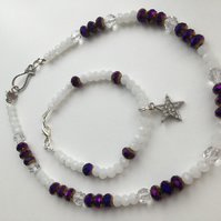 Dark Purple Fire Polished & Opaque Faceted Czech Glass Necklace & Bracelet Set