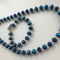 Royal Blue Fire Polished Faceted Crystal Necklace & Bracelet Set