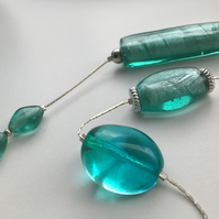 Silver Snake Chain Turquoise Glass Necklace