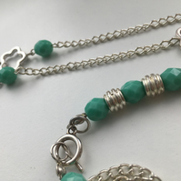 Silver Chain & Turquoise - Silver Daisy Necklace & Bracelet Set