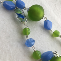 Blue & Green  Glass Beaded Necklace