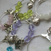 Set of 6 Wine Glass Charms with Butterfly Charms