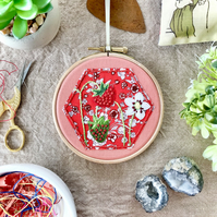 Embroidered Hoop, Liberty of London (in Red) - Floral Print, Wild Strawberries