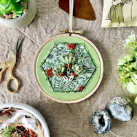 Embroidered Hoop, Liberty of London (in Green) - Floral Print, Wildflowers