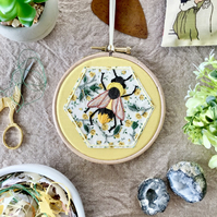 Embroidered Hoop, Liberty of London (in Yellow) - Floral Print, Bumble Bee