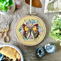 Embroidered Hoop, Things with Wings (in Yellow) - Butterfly, Clouded Yellow