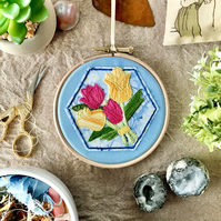 Embroidered Hoop, Liberty of London (in Blue) - Floral Print, Emoji Bouquet