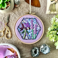 Embroidered Hoop, Liberty of London (in Purple) - Floral Print, Thyme & Lavender