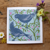 Love Birds greeting card from an original lino print