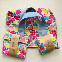 Small Bag with matching eco-friendly reusable snack bags and hand warmers