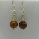 brown cracked glass beaded earrings