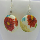 round floral beaded earrings