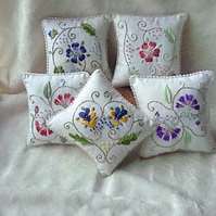 Hand embroidered lavender cushion approx 10cm square
