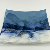 Hand Painted dish. Painted with glass enamels onto glass and fused .