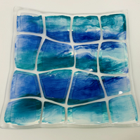 Beautiful Retro Warp effect blue and teal enamel painted fused glass dish