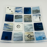 Beautiful Blue and Brown Fused Glass dish. Hand painted and embellished