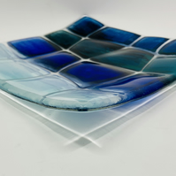 Beautiful Retro Warp effect Blue, Green and Teal enamel painted fused glass dish