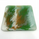 Fabulous Fused Glass Coaster painted with enamel paints.