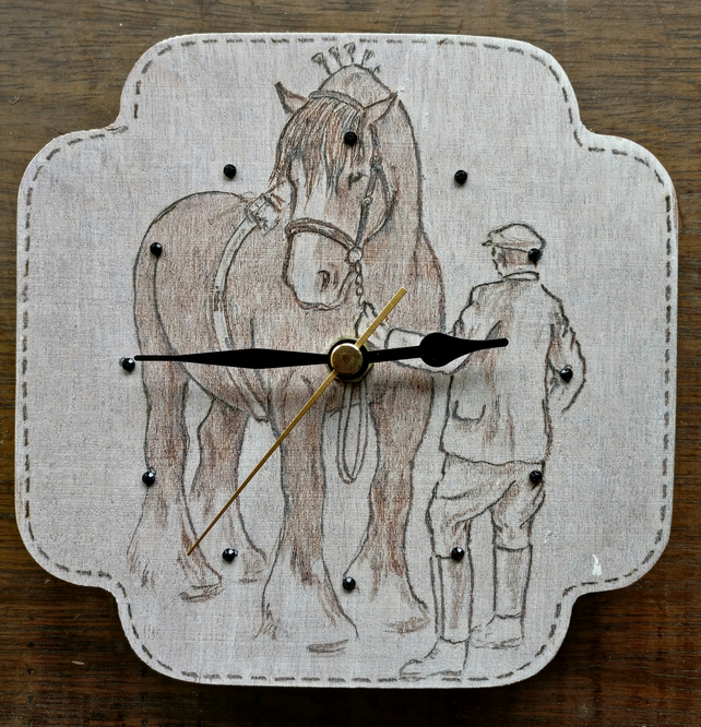 Old fashioned farmer and his Shire horse clock