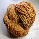 Hand spun wool yarn Rust Sparkle