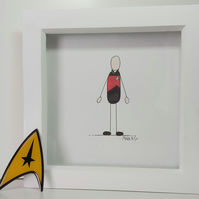 Father's Day Illustration Gift - Framed Drawing of Picard from Star Trek