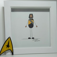 Father's Day Illustration Gift - Framed Drawing of Worf from Star Trek