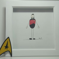 Father's Day Illustration Gift - Framed Drawing of Riker from Star Trek