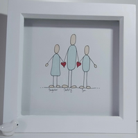 Father's Day Illustration Gift - Personalised Framed Drawing of Daddy and Family
