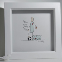 Father's Day Illustration Gift - Personalised Framed Drawing of Daddy & Hobbies