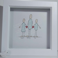 Dad Birthday Illustration Gift - Personalised Framed Drawing of Daddy and Family