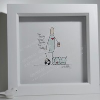 Father Illustration Gift - Personalised Framed Drawing of Daddy & Hobbies