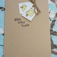 Handmade, New Baby Twins Card - Twins Congratulations Card - Duck Baby Card