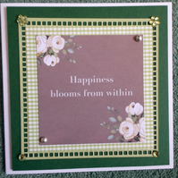 Happiness Blooms from Within Blank Greetings Card
