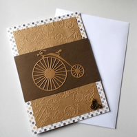 Penny Farthing Big Wheel Bicycle Bike Design Handmade Blank Card with Charm