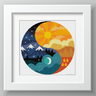 Yin and Yang - Night and Day - Sun and Moon - Cross stitch chart