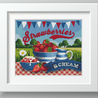Strawberries and Cream Day Classic British Summer Garden Party - cross stitch
