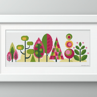 Scandinavian Modern Forest Trees - Summer - Contemporary cross stitch pattern