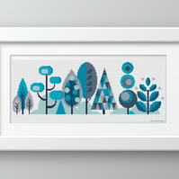 Scandinavian Modern Forest Trees - Winter - Contemporary cross stitch pattern