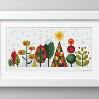 Scandinavian Modern Forest Trees - Christmas - Contemporary cross stitch pattern