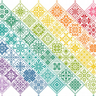Cross Stitch Quaker Style Banded Rainbow on White Patchwork Tile Sampler Pattern