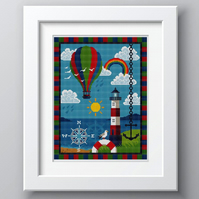 Cross Stitch Colourful Lighthouse and Hot Air Balloon Pattern