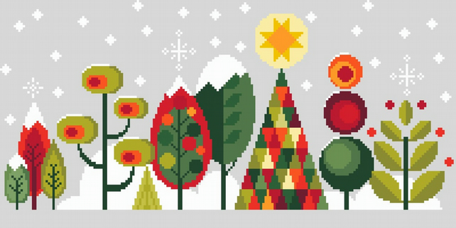 Cross Stitch Scandinavian Modern Forest Trees G - Christmas Contemporary Pattern