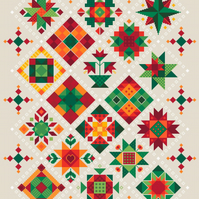 090 - Shaker Patchwork Large Christmas Quilt on Oatmeal - Cross Stitch Pattern