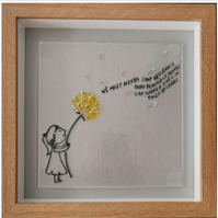 Framed Panel of Positivity Girl Holding Dandelion.
