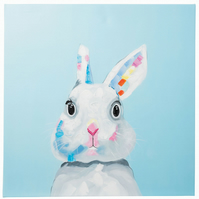 Bunny rabbit with big eyes. Hand Painted Oil on Canvas. Framed. 60 x 60cm