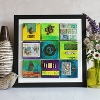 Mini Canvas Gallery. Turquoise and lime.