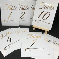 Table Numbers - Foiled - White or Ivory with Gold, Silver or Rose Gold
