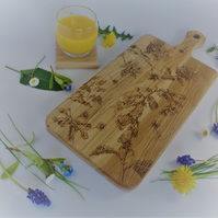 Hand Decorated Solid Oak Wildflower Design Chopping Board